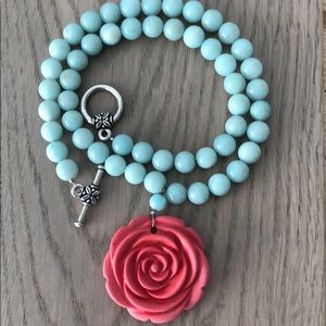 Turquoise Glass Necklace with Coral Rose Pendent